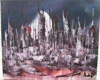 Universum, Abstrakt, Mond, Stadt