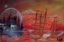 Meer, Zukunft, Mond, Schiff