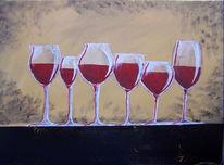 Stillleben, Wein, Weingläser, Glas