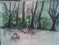 Wald, See, Wasser, Aquarellmalerei