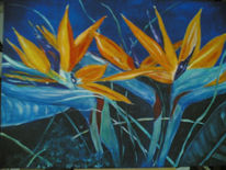 Flora, Paradiesblume, Strelzilien, Malerei