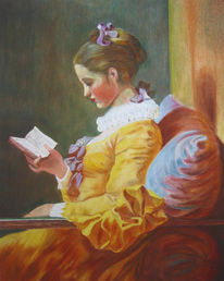 Fragonard, Lesende, Frau, Pastellmalerei