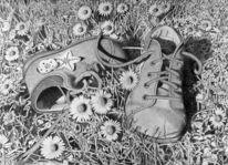Schuhe bleistiftzeichnung, Schuhe, Gras, Bleistiftzeichnung