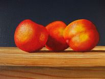 Obst, Ölmalerei, Nektarine, Malerei