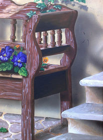 Malerei, Bank, Stiefmütterchen
