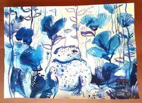 Garten, Zeit, Frosch, Blumen