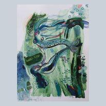 Meerjungfrau, See, Meer, Mischtechnik