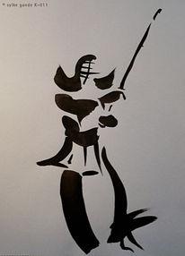 Kämpfer, Tuschezeichnung, Verbindung, Waffe