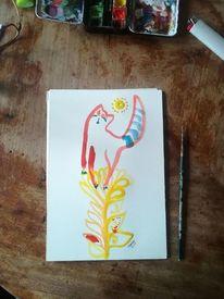 Katze, Blumen, Rot, Aquarell