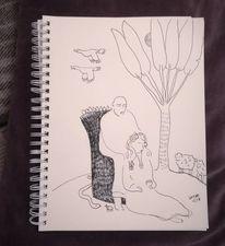 Frau, Schlange, Schaf, Palmen