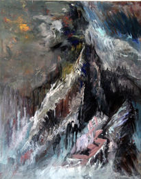 Landschaft, Berge, Malerei, Abstrakt