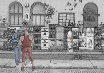 Stadt, Straße, Architektur, Menschen