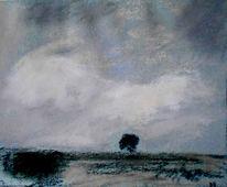 Hügel, Himmel, Baum, Malerei