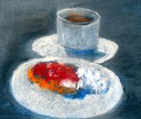 Kuchen, Sahne, Tasse, Zeichnungen