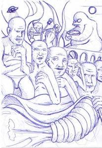 Skizze, Gedanken, Kugelschreiber, Zeichnungen