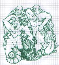 Menschen, Surreal, Mannschaft, Kugelschreiber