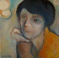 Melancholie, Frau, Ölmalerei, Malerei