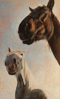 Pferde, Pony, Malerei, Zaun