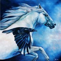 Rabe, Schimmel, Pferde, Flügel