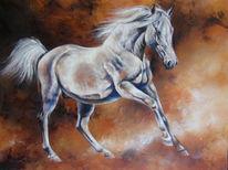 Galopp, Schimmel, Acrylmalerei, Pferde