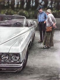 Cadillac, Weiß, Oldtimer, Classic car