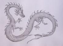 Drache, Bleistiftzeichnung, Wasser, Zeichnungen