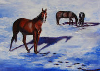 Pferde, Schnee, Winter, Acrylmalerei