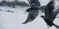 Krähe, Schnee, Rabe, Landschaft