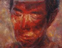 Portrait, Licht, Mann, Malerei