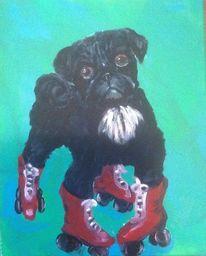 Hund, Rollschuhe, Malerei