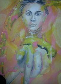 Frau, Hand, Bein, Malerei