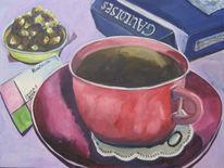 Kaffee, Pralinen, Zigarette, Malerei