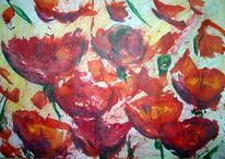 Malerei, Abstrakt, Mohn