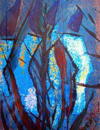 Eis, Landschaft, Wasserpflanzen, Malerei