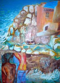 Malerei, Abstrakt, Meer, Haus