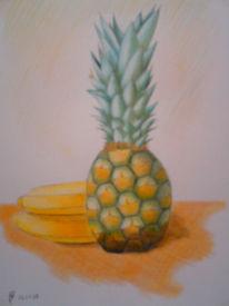 Stillleben, Buntstifte, Zeichnungen, Ananas