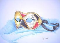 Noten, Maske, Zeichnungen, Stillleben