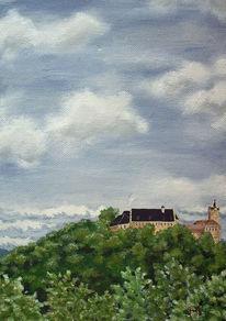 Burg, Wetter, Wolken, Grün