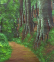 Wald, Malerei, Natur, Wanderweg