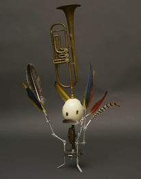 Vogel, Ei, Schlüsselloch, Federn trompete