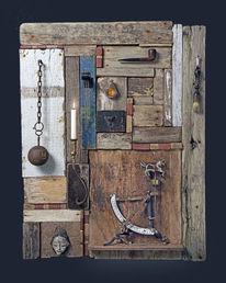 Objekt, Materialkolllage, Assemblage, Treibholz