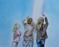 Jung, Malen, Pastellmalerei, Regenbogen
