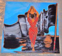 Malerei, Menschen, Frau, Krug