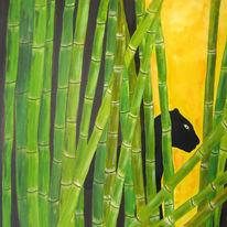 Panther, Gelb, Schnee, Bambus