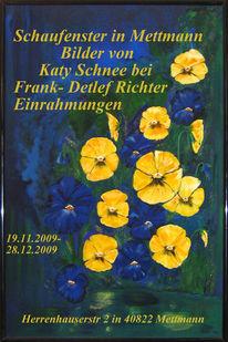 Teich, Blumen, Pinnwand, Flyer und termine