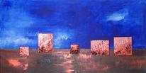 Schnee, Blau, Morgen, Malerei