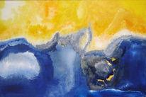 Schnee, Blau, Gelb, Malerei