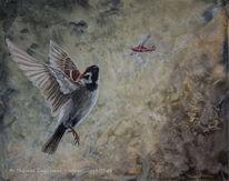 Flugzeug, Acrylmalerei, Guggart, Vogel