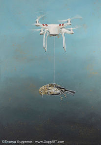 Fliegen, Acrylmalerei, Drohne, Vogel