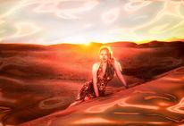 Frau, Sonnenuntergang, Sonne, Wüste